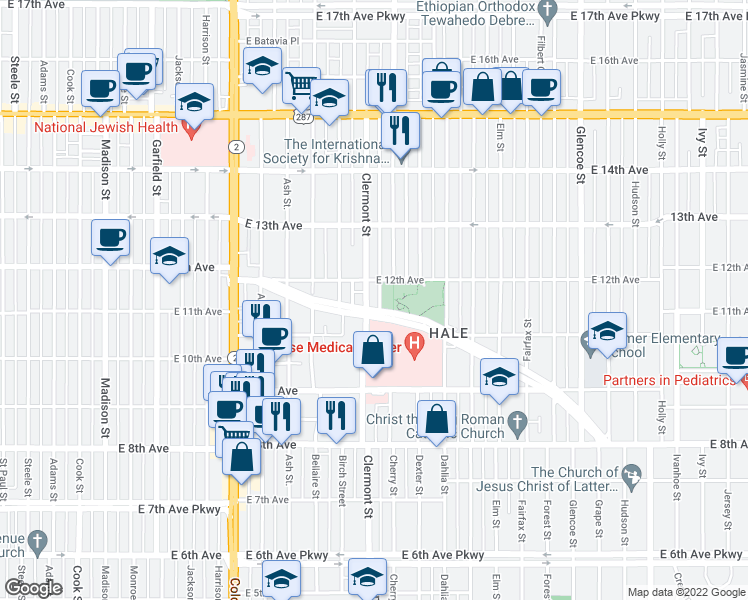 map of restaurants, bars, coffee shops, grocery stores, and more near 1180 Clermont Street in Denver