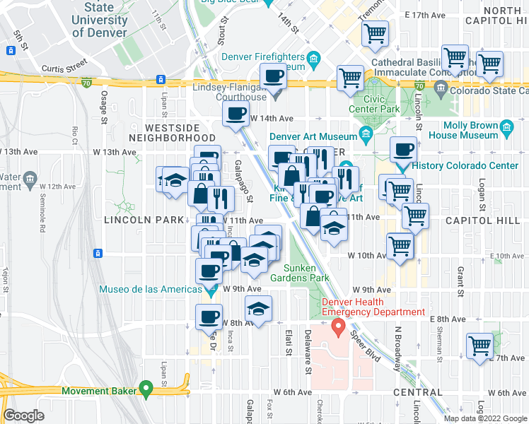 map of restaurants, bars, coffee shops, grocery stores, and more near 601 West 11th Avenue in Denver
