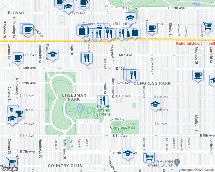 map of restaurants, bars, coffee shops, grocery stores, and more near 1172 York St in Denver