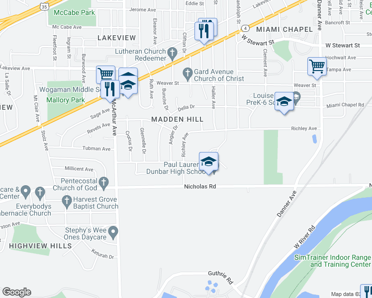 map of restaurants, bars, coffee shops, grocery stores, and more near 2233 Richley Avenue in Dayton