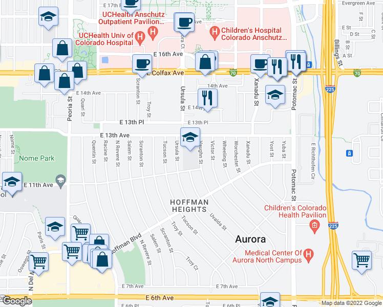 map of restaurants, bars, coffee shops, grocery stores, and more near 1155 Vaughn St in Aurora