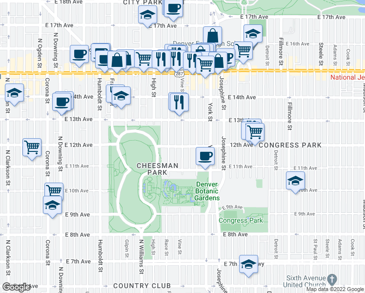 map of restaurants, bars, coffee shops, grocery stores, and more near East 12th Avenue & Vine Street in Denver