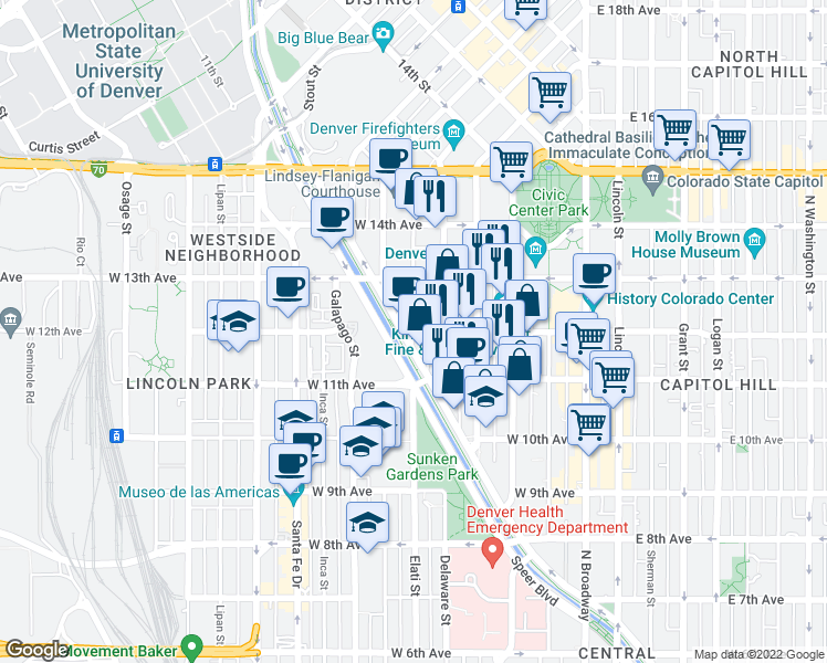 map of restaurants, bars, coffee shops, grocery stores, and more near West 12th Avenue & Elati Street in Denver