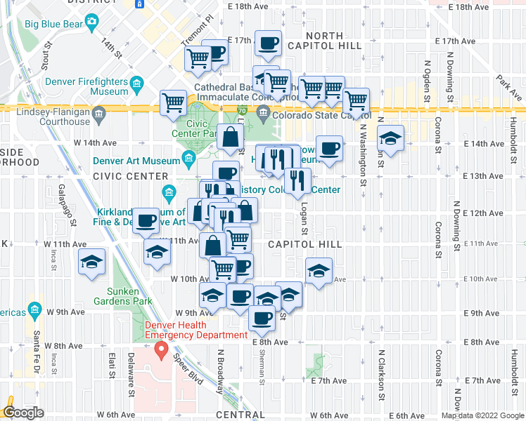 map of restaurants, bars, coffee shops, grocery stores, and more near East 12th Avenue & Sherman Street in Denver