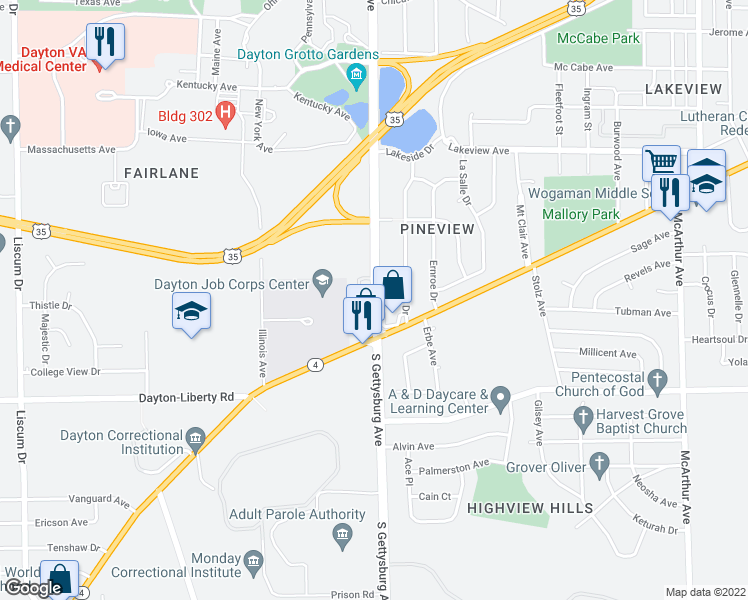map of restaurants, bars, coffee shops, grocery stores, and more near 829 S Gettysburg Ave in Dayton