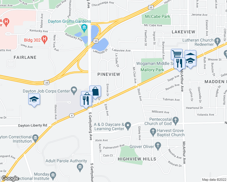 map of restaurants, bars, coffee shops, grocery stores, and more near Forent Avenue in Dayton