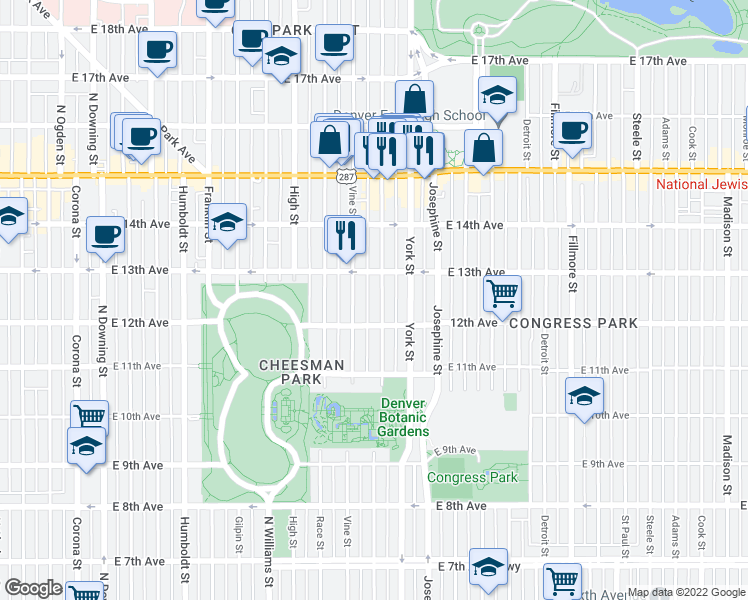 map of restaurants, bars, coffee shops, grocery stores, and more near 1243 Gaylord Street in Denver