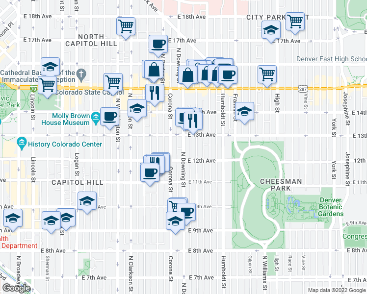 map of restaurants, bars, coffee shops, grocery stores, and more near 1248 Downing St in Denver