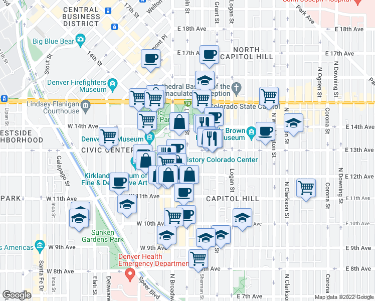 map of restaurants, bars, coffee shops, grocery stores, and more near East 13th Avenue & Lincoln Street in Denver