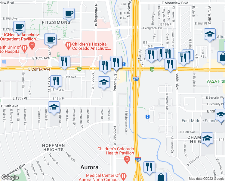 map of restaurants, bars, coffee shops, grocery stores, and more near 1335 Yuba Way in Aurora