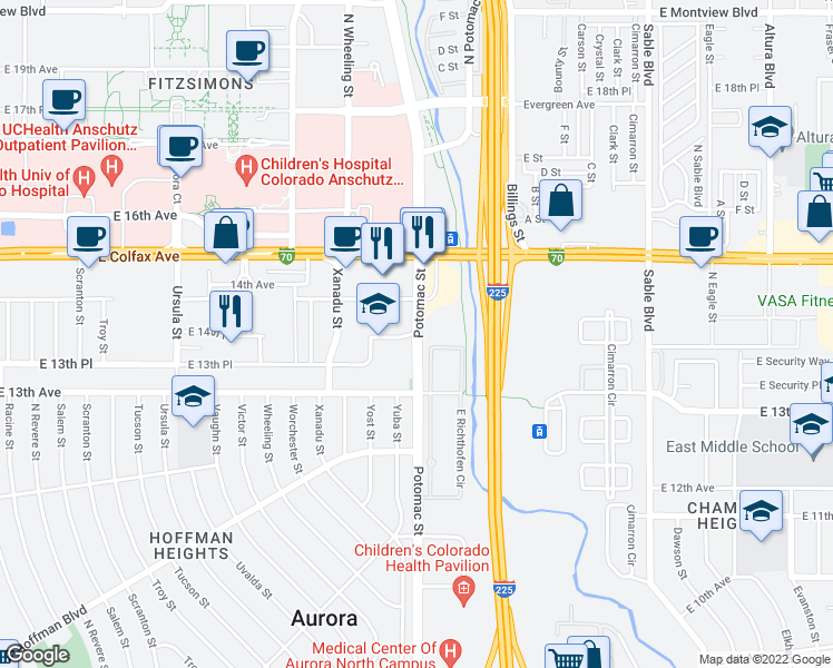 map of restaurants, bars, coffee shops, grocery stores, and more near Potomac St & E 14th Pl in Aurora