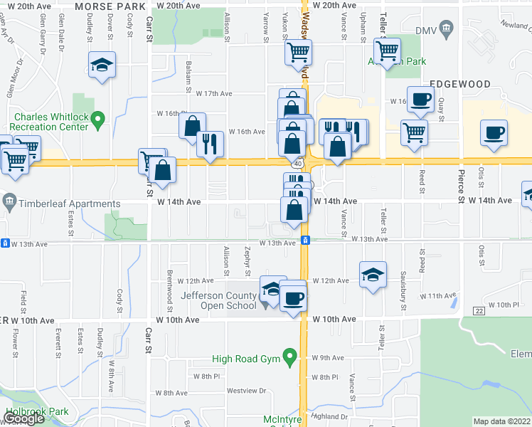 map of restaurants, bars, coffee shops, grocery stores, and more near 1375 Yarrow St in Lakewood