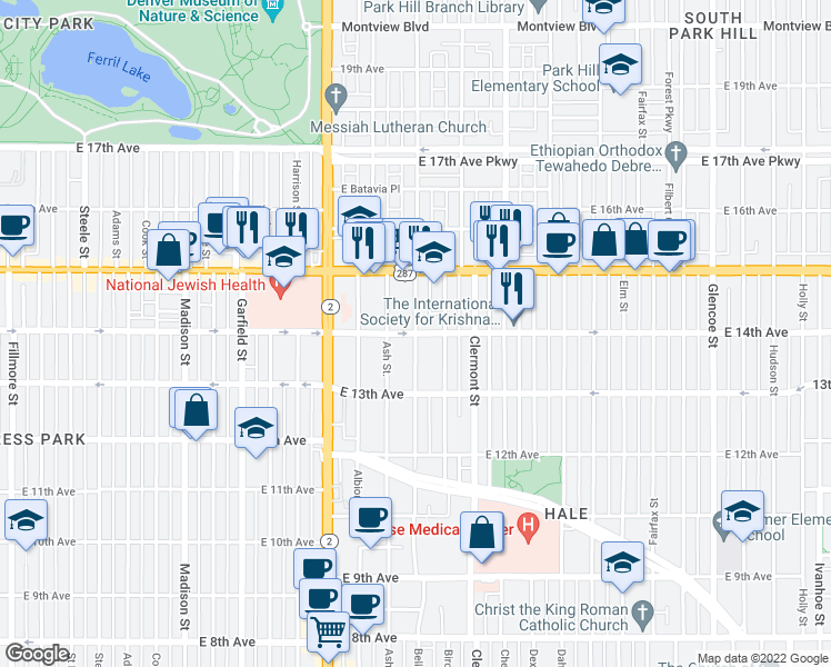 map of restaurants, bars, coffee shops, grocery stores, and more near East 14th Avenue & Bellaire Street in Denver