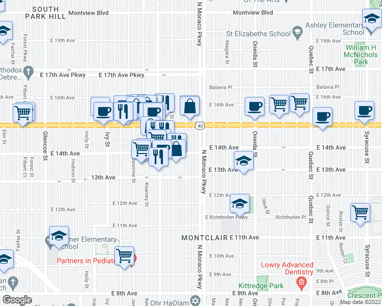 map of restaurants, bars, coffee shops, grocery stores, and more near 6415 E 14th Ave in Denver