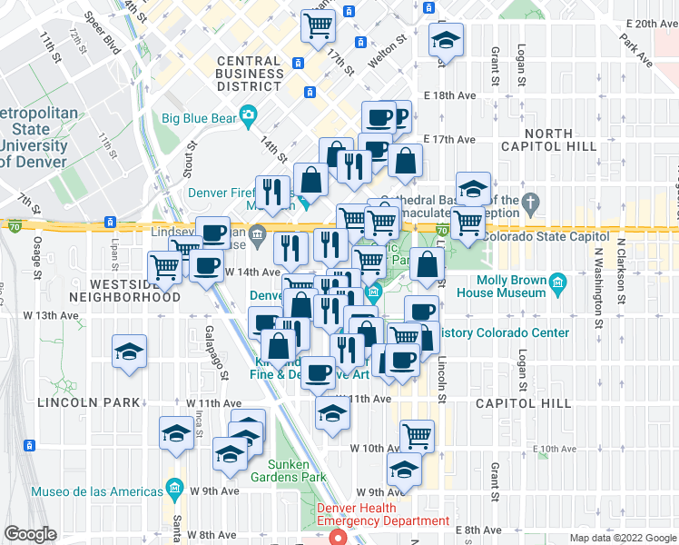 map of restaurants, bars, coffee shops, grocery stores, and more near 1360 S Cherokee St in Denver