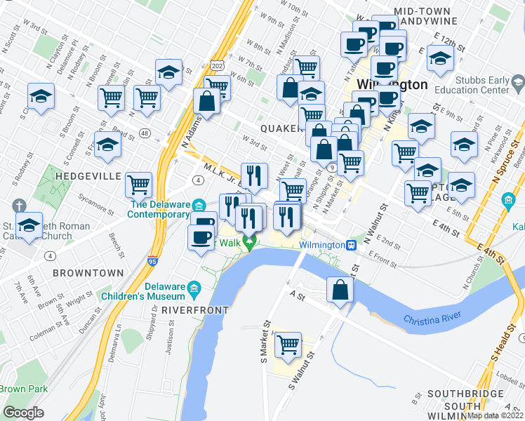 map of restaurants, bars, coffee shops, grocery stores, and more near 100-198 West Street in Wilmington