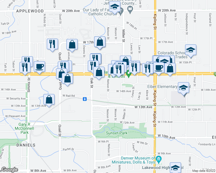 map of restaurants, bars, coffee shops, grocery stores, and more near 1315 Nelson Street in Lakewood