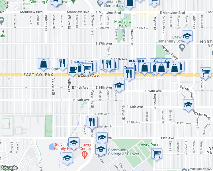 map of restaurants, bars, coffee shops, grocery stores, and more near 9089 E 14th Ave in Aurora