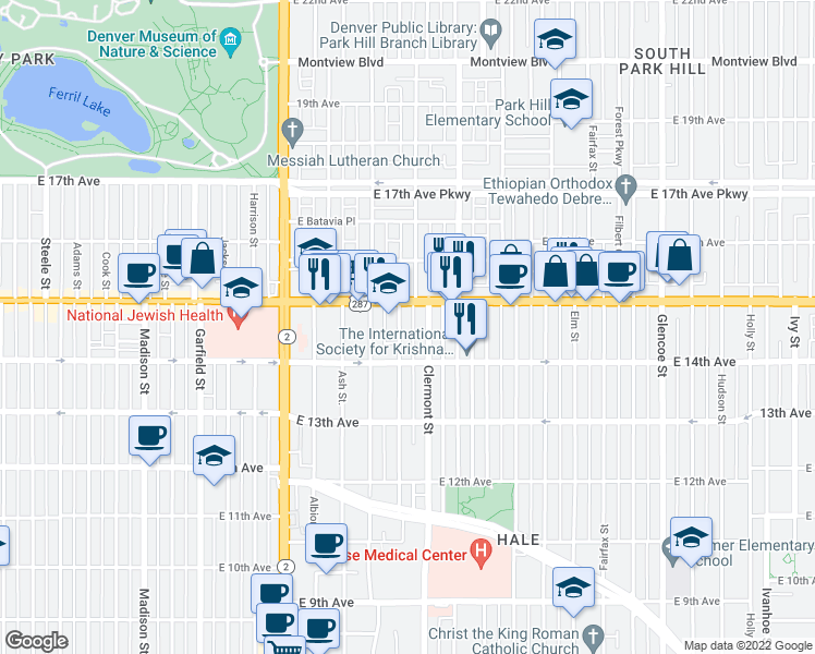 map of restaurants, bars, coffee shops, grocery stores, and more near 1460 Birch St in Denver