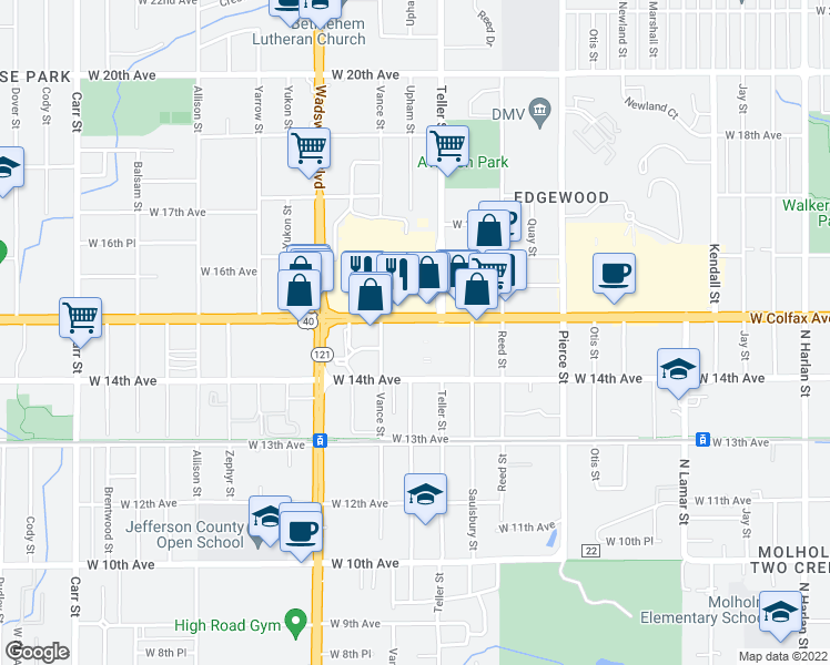 map of restaurants, bars, coffee shops, grocery stores, and more near 46 in Lakewood