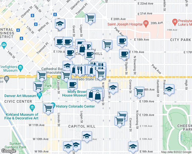 map of restaurants, bars, coffee shops, grocery stores, and more near East Colfax Avenue & Pearl Street in Denver