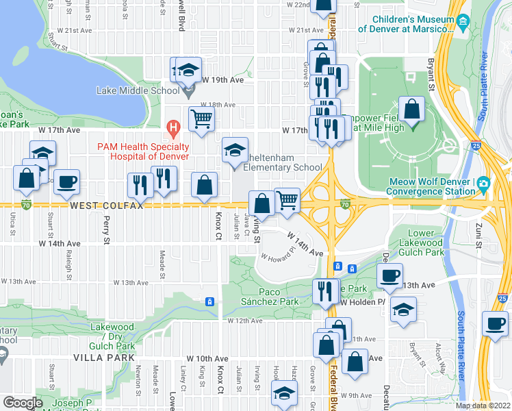map of restaurants, bars, coffee shops, grocery stores, and more near W Colfax Ave & Irving St in Denver