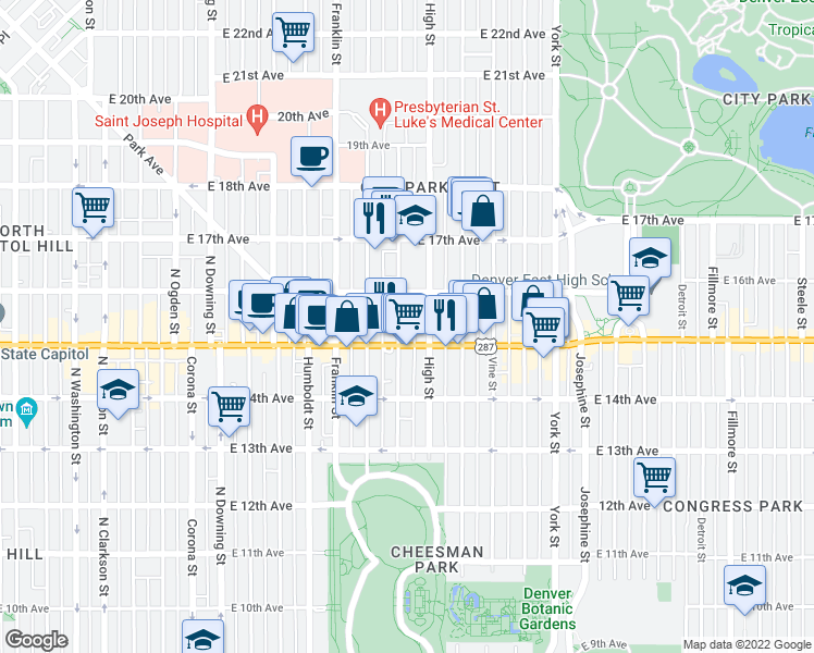 map of restaurants, bars, coffee shops, grocery stores, and more near 1530 Williams St in Denver