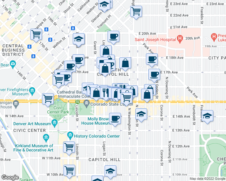 map of restaurants, bars, coffee shops, grocery stores, and more near 1552 Pennsylvania Street in Denver