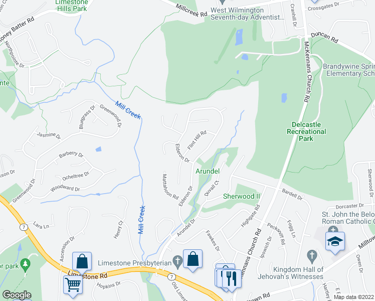 map of restaurants, bars, coffee shops, grocery stores, and more near 1003 Elderon Drive in Wilmington