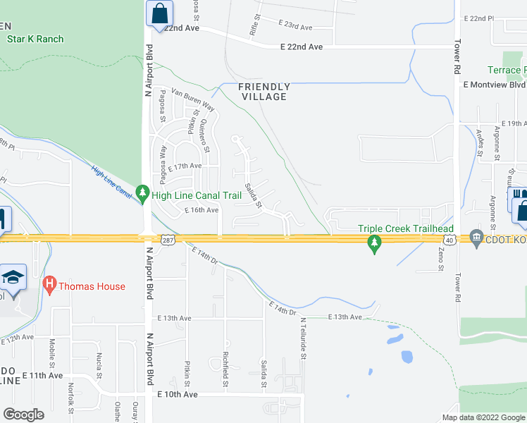 map of restaurants, bars, coffee shops, grocery stores, and more near Salida St in Aurora