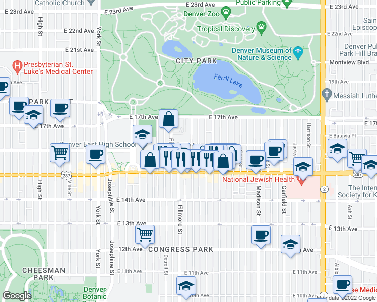 map of restaurants, bars, coffee shops, grocery stores, and more near 3000 East 16th Avenue in Denver