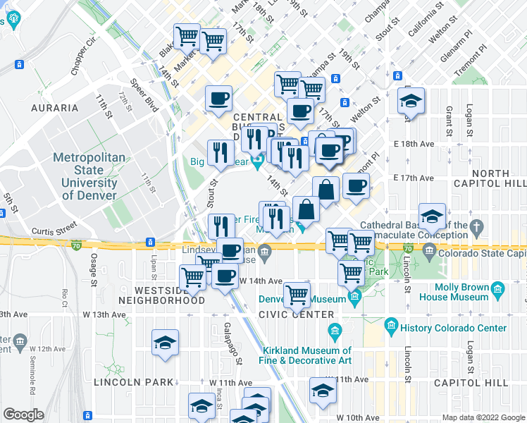 map of restaurants, bars, coffee shops, grocery stores, and more near 13th St in Denver