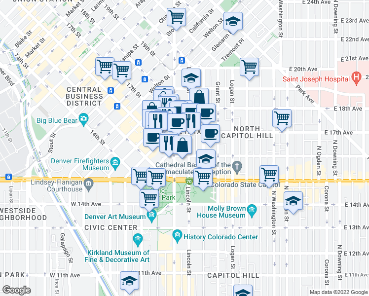 map of restaurants, bars, coffee shops, grocery stores, and more near 25 East 16th Avenue in Denver