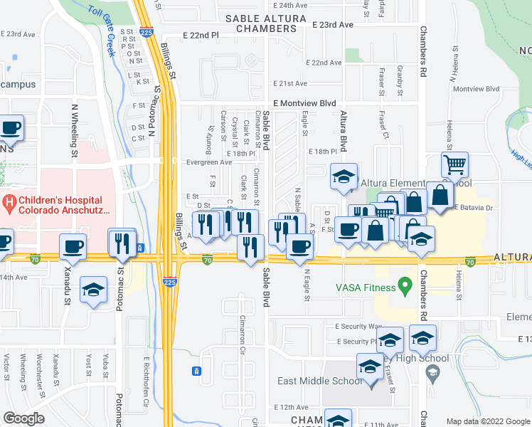 map of restaurants, bars, coffee shops, grocery stores, and more near 1600 Sable Blvd in Aurora
