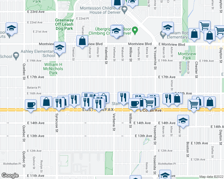 map of restaurants, bars, coffee shops, grocery stores, and more near 1611 Verbena St in Denver