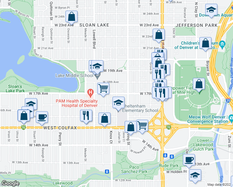 map of restaurants, bars, coffee shops, grocery stores, and more near Julian Street & West 17th Avenue in Denver