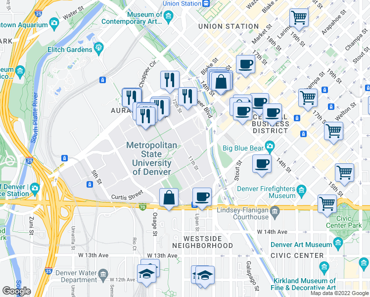 map of restaurants, bars, coffee shops, grocery stores, and more near 11th Street in Denver