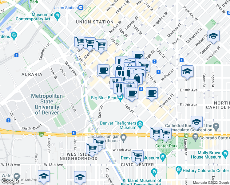 map of restaurants, bars, coffee shops, grocery stores, and more near 891 14th Street in Denver