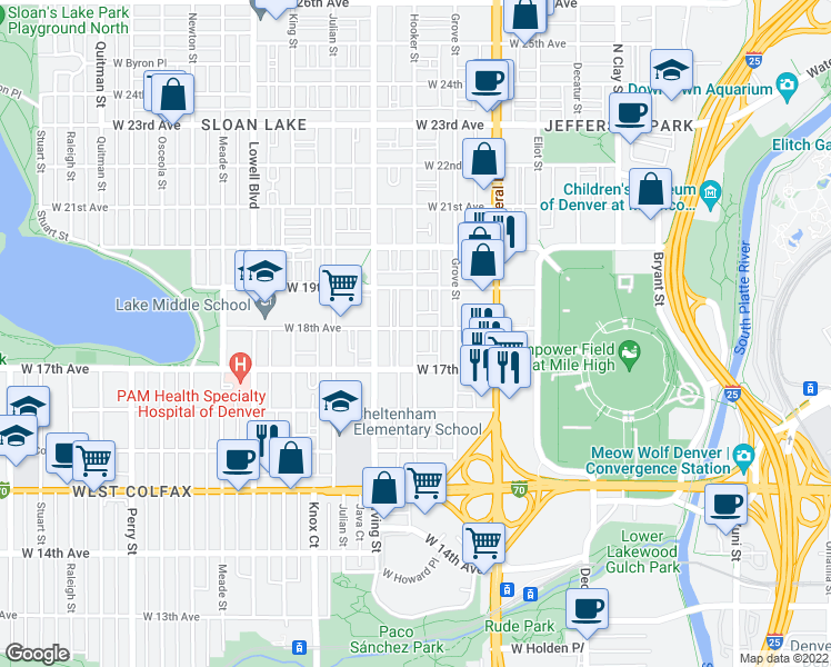 map of restaurants, bars, coffee shops, grocery stores, and more near 1815 Hooker Street in Denver