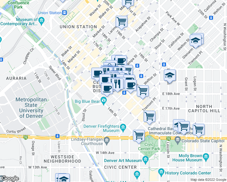 map of restaurants, bars, coffee shops, grocery stores, and more near 1531 Stout Street in Denver