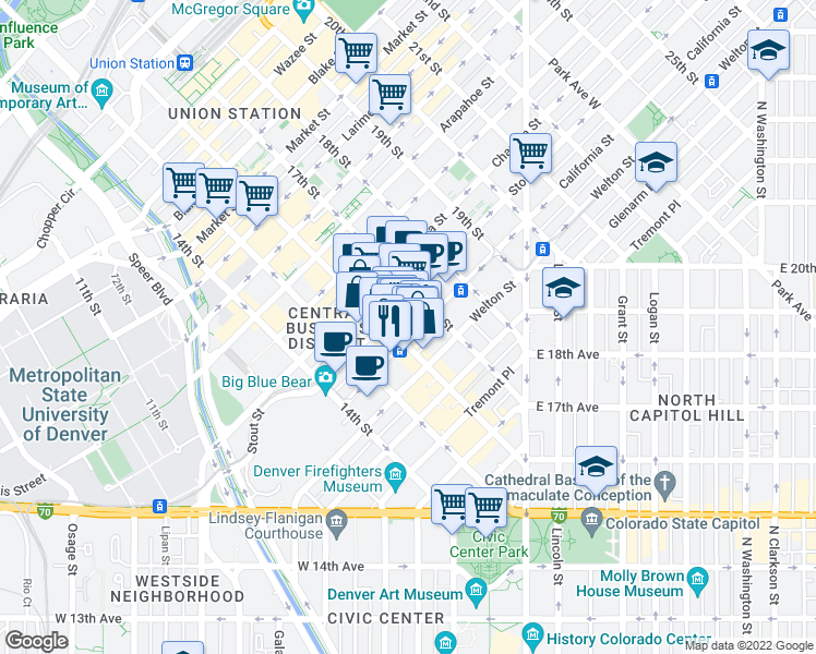 map of restaurants, bars, coffee shops, grocery stores, and more near 1617 California Street in Denver