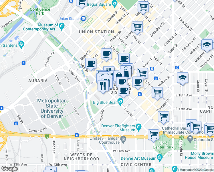 map of restaurants, bars, coffee shops, grocery stores, and more near 1051 14th Street in Denver