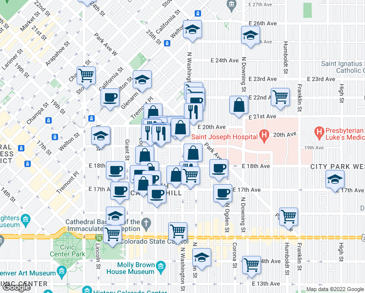 map of restaurants, bars, coffee shops, grocery stores, and more near East 19th Avenue & Washington Street in Denver