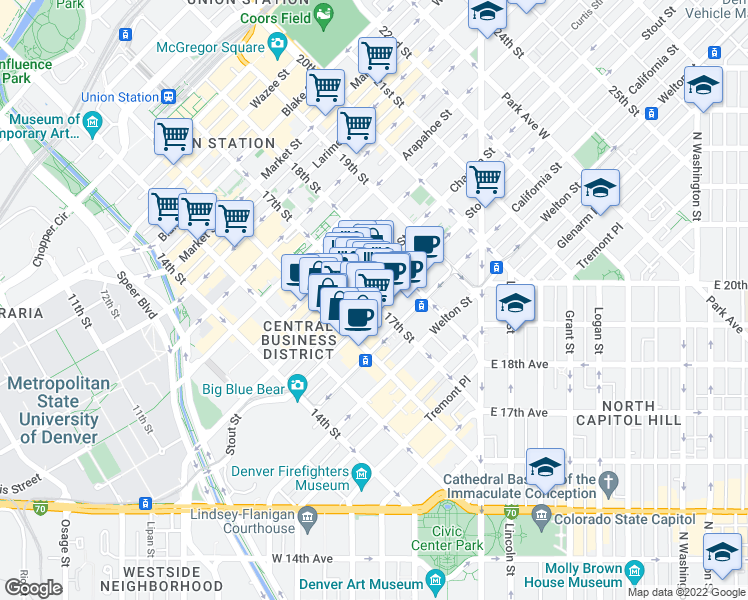 map of restaurants, bars, coffee shops, grocery stores, and more near 828 17th Street in Denver