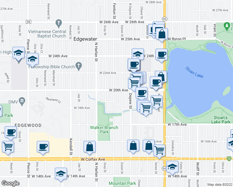 map of restaurants, bars, coffee shops, grocery stores, and more near 5790 West 20th Avenue in Lakewood