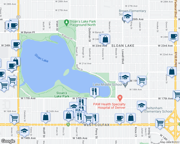 map of restaurants, bars, coffee shops, grocery stores, and more near W 20th Ave & Quitman St in Denver