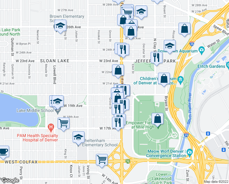 map of restaurants, bars, coffee shops, grocery stores, and more near 3031 West 20th Avenue in Denver
