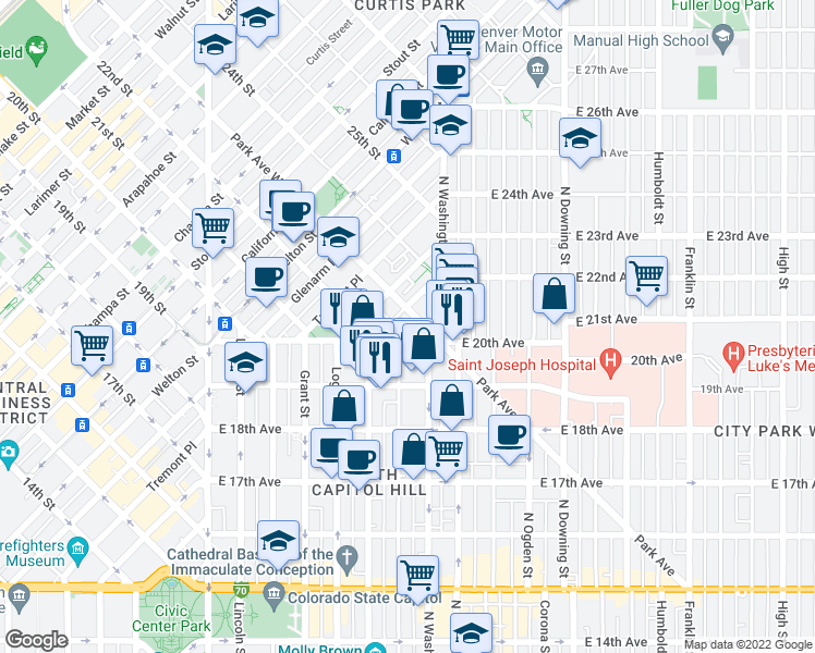 map of restaurants, bars, coffee shops, grocery stores, and more near 100 Park Avenue West in Denver