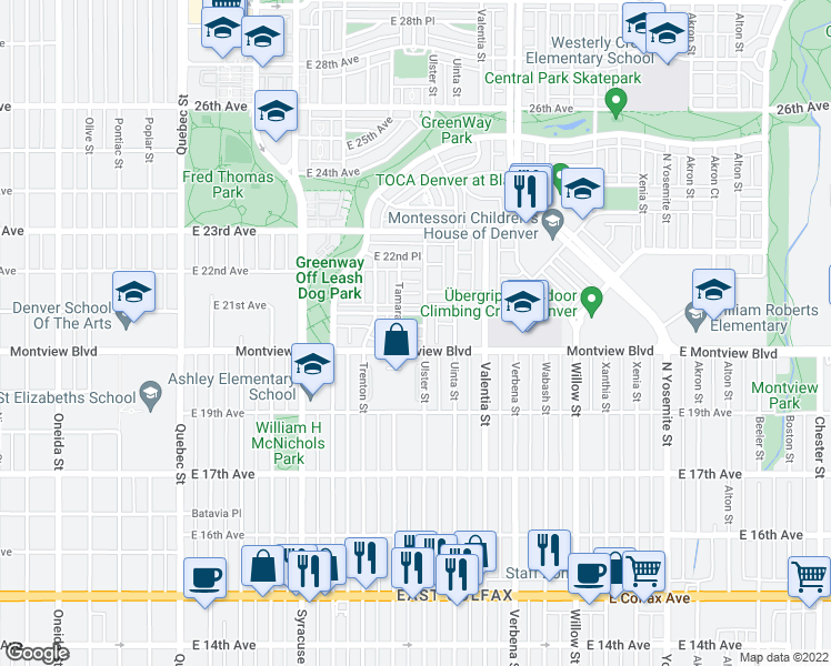 map of restaurants, bars, coffee shops, grocery stores, and more near E 20th Pl in Denver