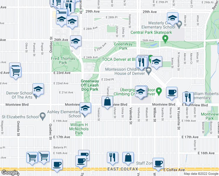 map of restaurants, bars, coffee shops, grocery stores, and more near 2204 Tamarac Street in Denver